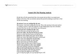 Sonnet 130 Analysis Essay by Sonnet 130 The Meaning Analysis Gcse Marked By Teachers