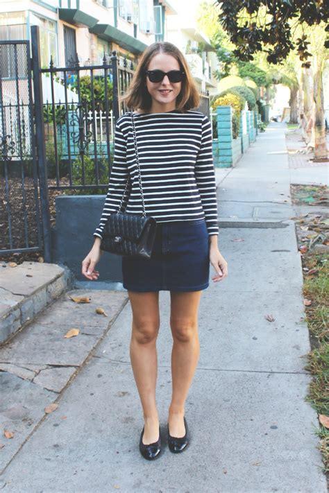 petit bateau striped top and american apparel denim skirt
