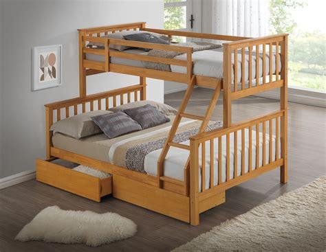 beech triple wooden bunk bed childrens kids