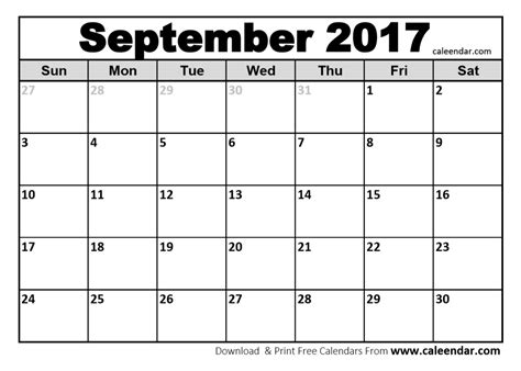 Calendar Printable September 2017 September 2017 Calendar Printable And Template