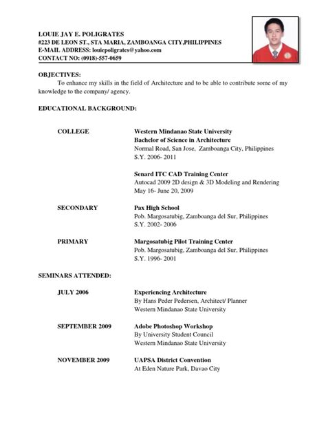 Resume Sample In Tagalog by Resume Docx Philippines Mindanao