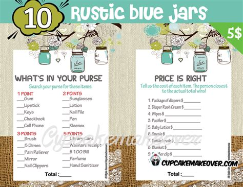 blue themed games rustic mason jar baby shower games blue instant download