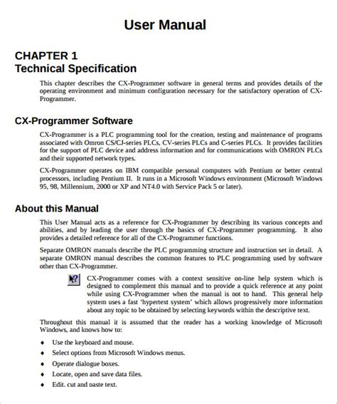 template of user manual user manual template 9 documents in pdf
