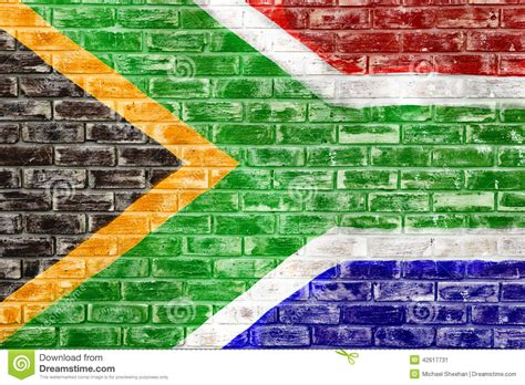 wallpaper for walls south africa south african flag on a brick wall stock illustration
