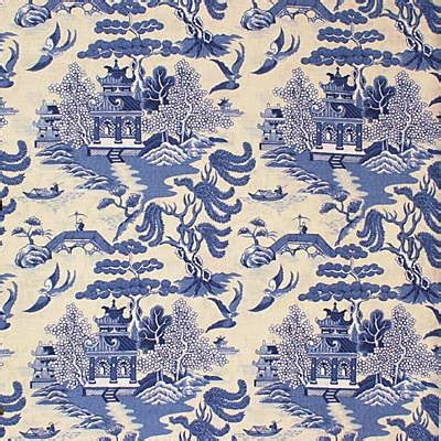 willow pattern wallpaper lee jofa chinoserie willow linen toile fabric 10 yards blue