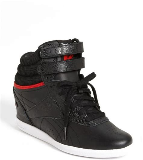 reebok wedge sneakers reebok freestyle hi wedge a sneaker in black black