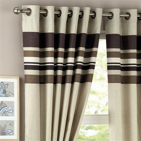 harvard eyelet curtains curtina harvard stripe print eyelet lined curtains ebay