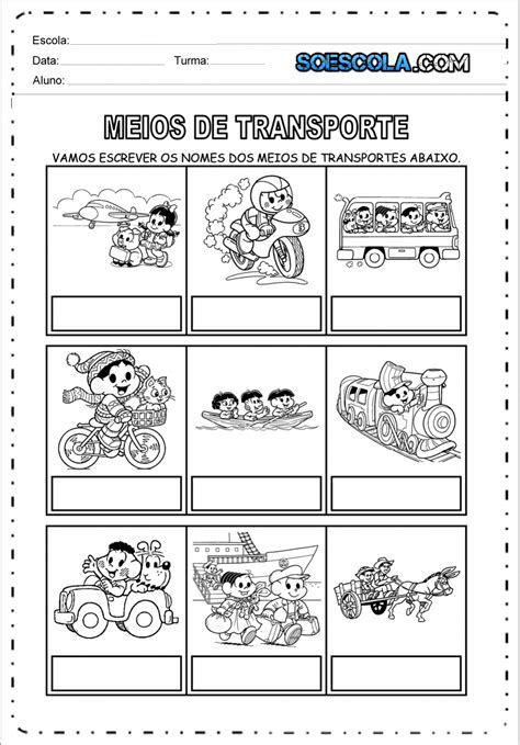 Atividades sobre os Meios de Transportes | Meios de