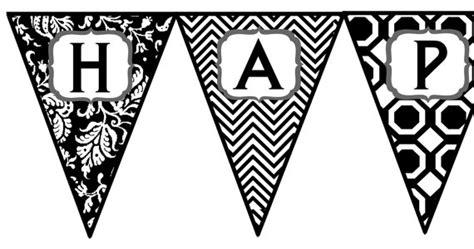 Banner Happy Birthday Black White black and white birthday banner printable 101 birthdays