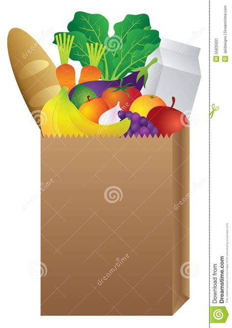 Brown Paper Bag Detox Tea Orange And Green by Grocery Paper Bag Of Food Stock Vector Image Of Eggplant