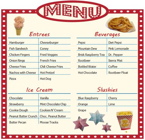 Concession Stand Menu Template pin concession stand menu on