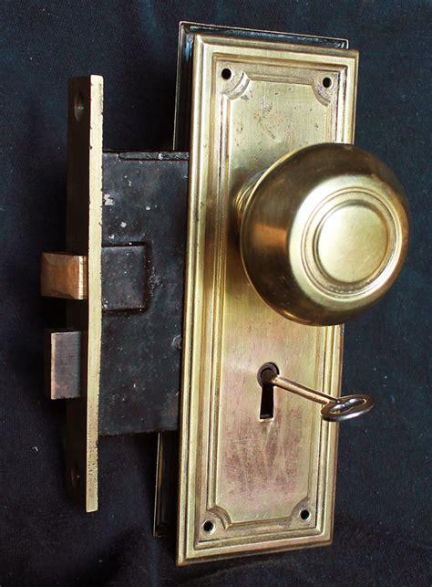 Interior Door Knobs With Key Lock Restored Antique Brass Arts Crafts Interior Door Set Knob Plate Lock Lockset Key Ebay
