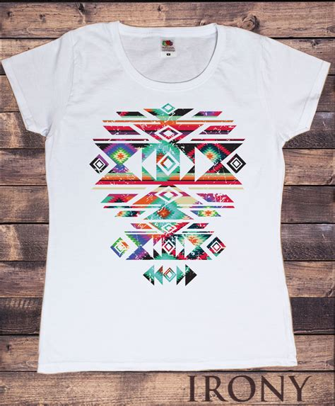 aztec pattern t shirt womens white t shirt with aztec pattern motif tribal print