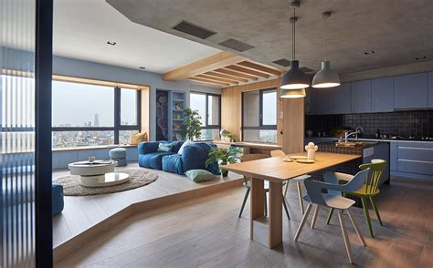 chiminea glue blue and glue sky high family apartment in taiwan by hao