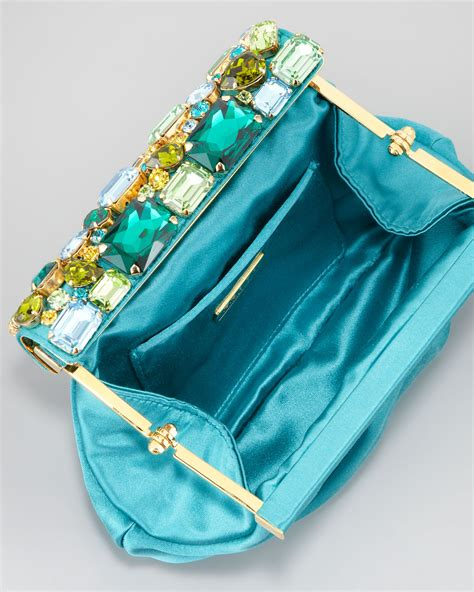 Ralph Jeweled Clutch by Lyst Prada Raso Jeweled Satin Clutch Bag In Blue