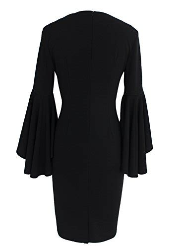 V Neck Bell Sleeve Sheath Dress vfemage s v neck bell sleeves work