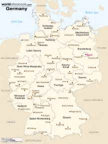 map of germany with states amp cities world atlas book