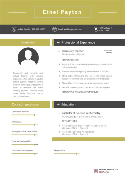 New Resume Template by Resume Templates For Teachers Are The Skillful Way To