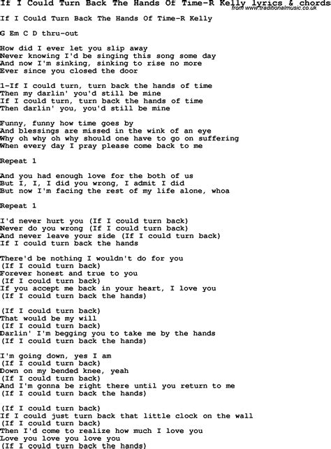 song lyrics for if i could turn back the of