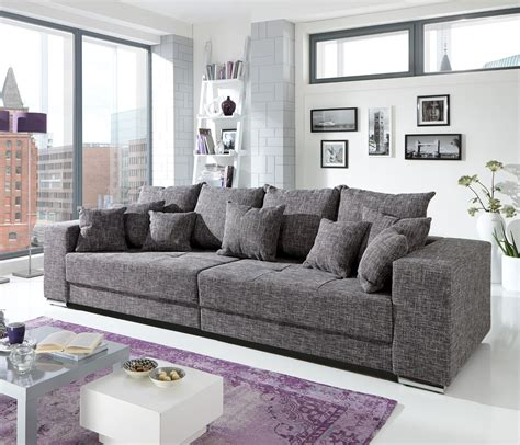 couch big bigsofa adria big sofa couch in webstoff graubraun mit