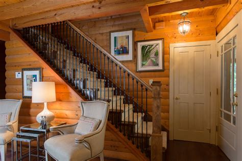 log cabin home traditional staircase atlanta by