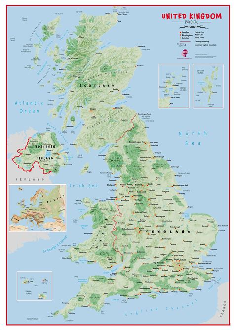 uk map primary uk wall map physical