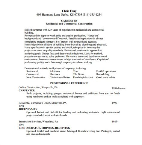 carpenter resume template carpenter resume template 8 free word excel pdf