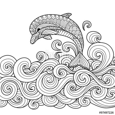 advanced dolphin coloring pages quot hand drawn zentangle dolphin with scrolling sea wave for