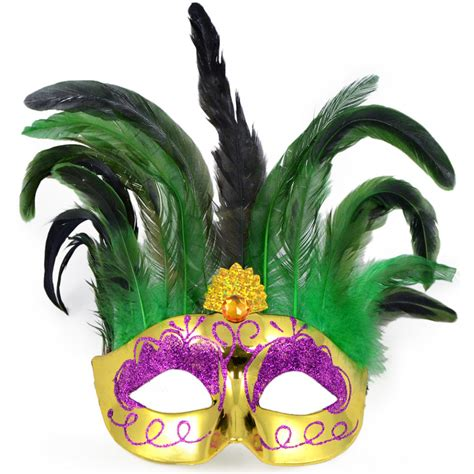 Domino Home Decor by Metallic Feather Topped Mask Mardi Gras Gold 7151 Mardi