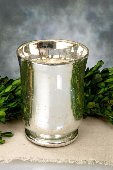 Mercury Glass Hurricane Vase 6in
