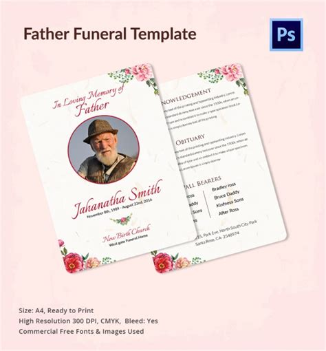 free editable funeral program template sle funeral program 11 documents in pdf psd