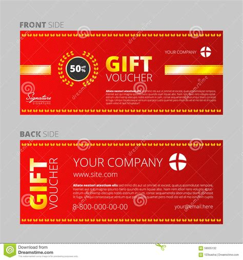 coupon certificate template design of voucher and gift certificate stock illustration