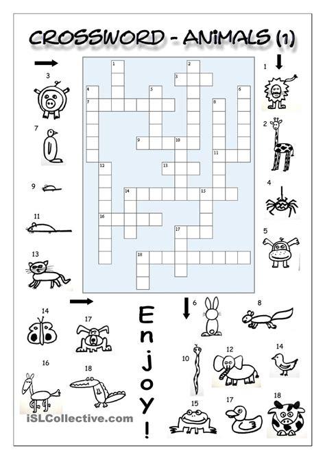 printable english puzzle crossword animals 1 easy english language esl efl