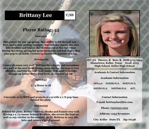 college recruiting profile template sle profile page fastpitch scouting report