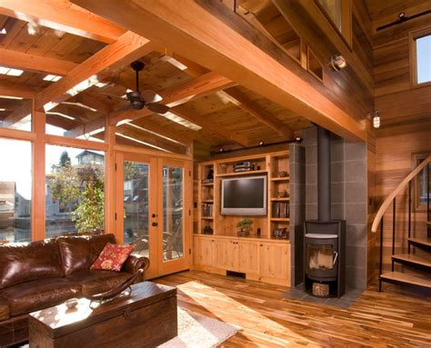 the living room seattle houseboat a seattle floating home renovation rustic