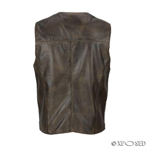 leather waistcoat biker mens 100 real leather waistcoat vintage biker retro vest