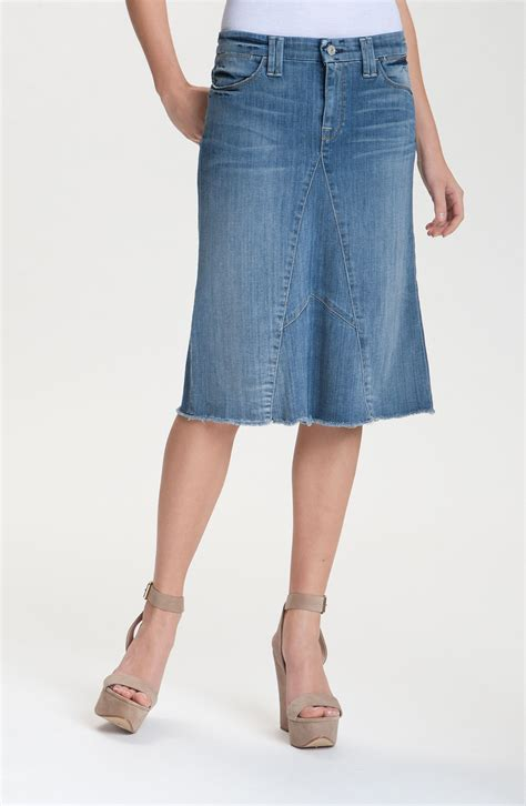 7 for all mankind denim midi skirt in blue authentic