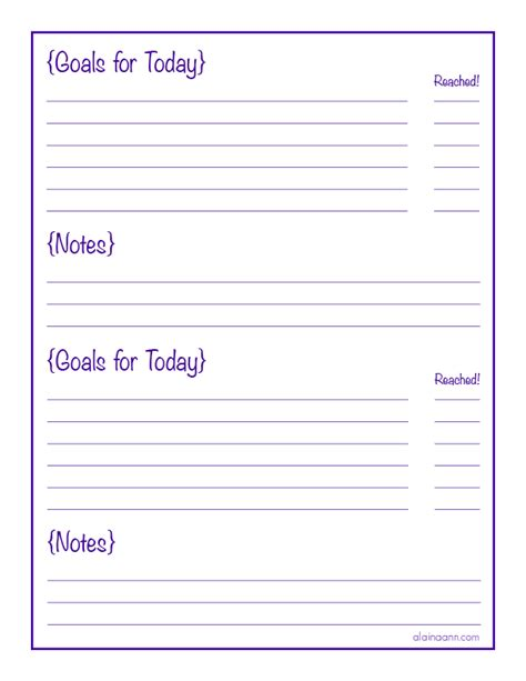6 Best Images Of Daily Goals Printable Free Printable Goal Sheet Printables Daily Planners Do Daily Goals Template
