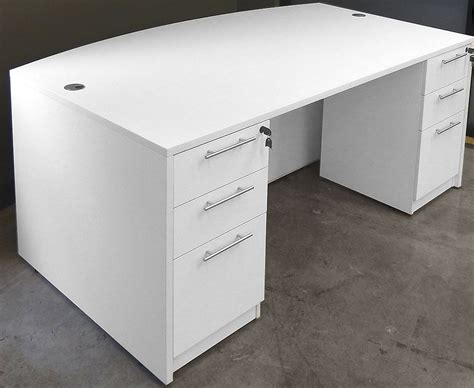 white desk with two file drawers white u shaped workstation w hutch