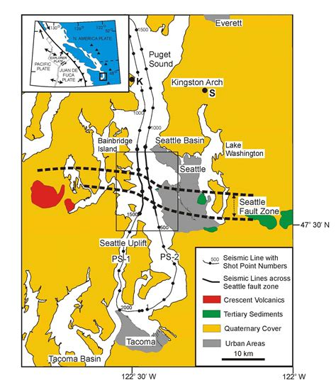 seattle fault map seattle fault