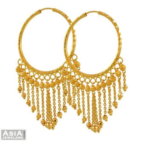 22k gold hanging hoops ajer52865 22k yellow gold