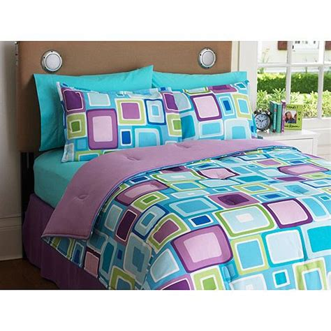 walmart girls bedding aqua bedding for teens your zone reversible comforter and sham set walmart com