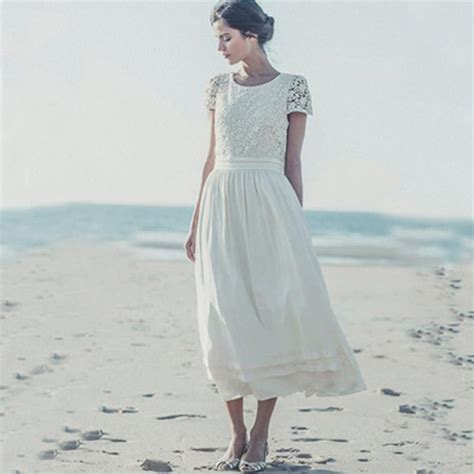 vintage lace ankle length beach wedding dress short