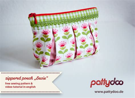 pattern for zippered pouch video tutorial sewing the zippered pouch susie pattydoo