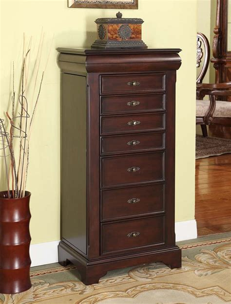 lockable jewelry armoire nathan direct j1151arm l e louis alexandre 7 drawer