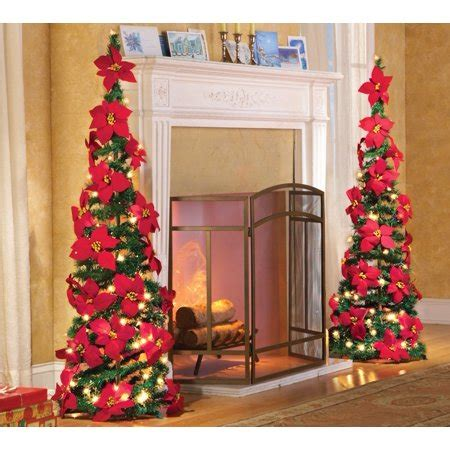 walmart pull up christmas tree lighted poinsettia pull up artificial tree 52 quot h walmart