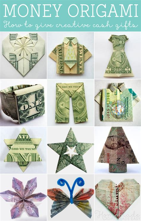 Easy Origami Gifts - how to fold money origami or dollar bill origami