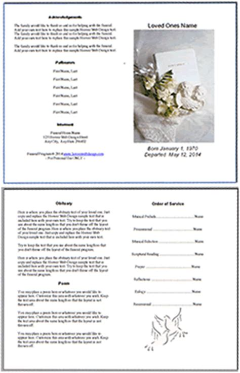 Free Editable Funeral Memorial Program Templates Funeral Order Of Service Template Free