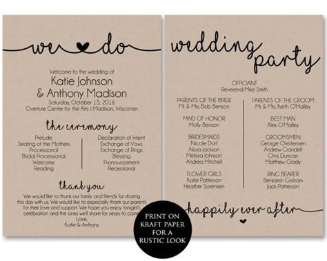Ceremony Program Template, Printable Wedding Programs