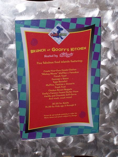 Goofys Kitchen Menu by Goofy S Kitchen At Disneyland Hotel By 187 Small